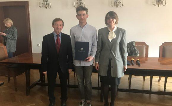 Konrad laureatem konkursu oZłoty Indeks PK zmatematyki