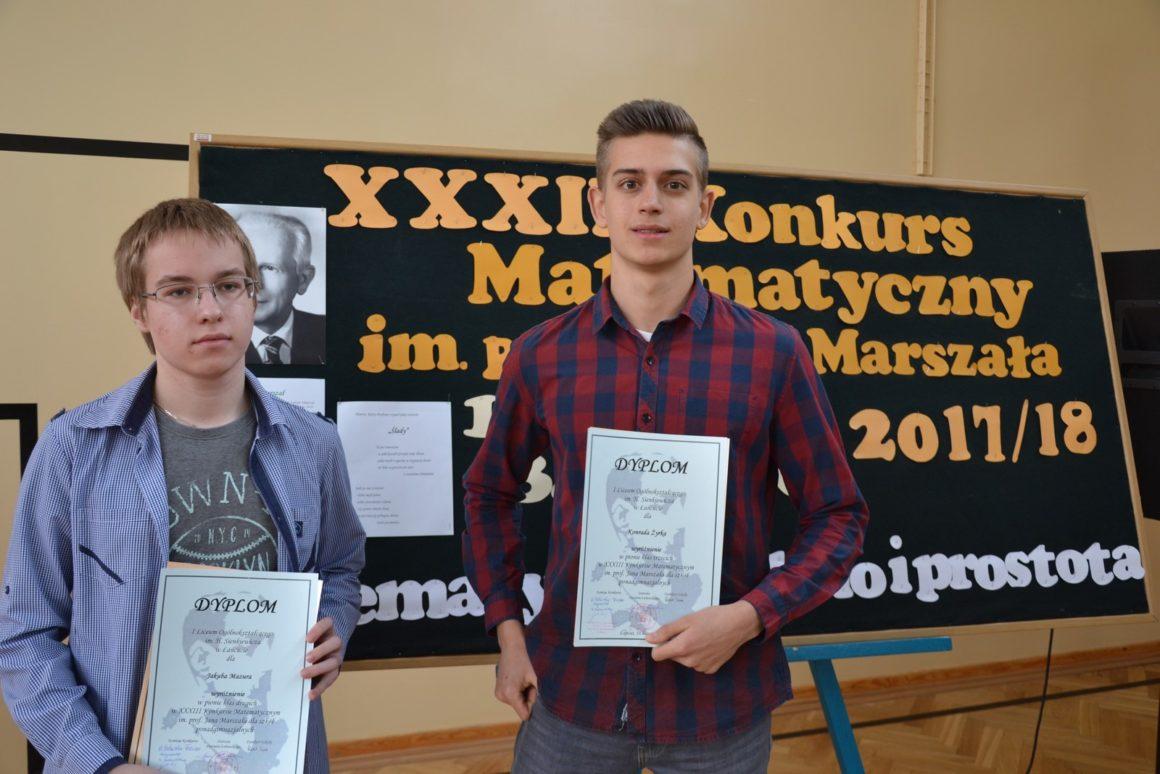 Dwóch uczniów naszej szkoły wyróżnionych w finale XXXIV Konkursu Matematycznego im. prof. Jana Marszała