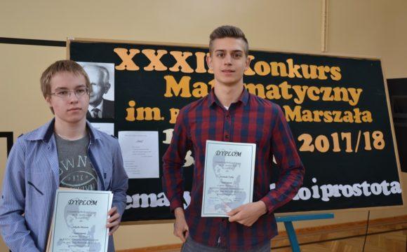 Dwóch uczniów naszej szkoły wyróżnionych wfinale XXXIV Konkursu Matematycznego im.prof.Jana Marszała