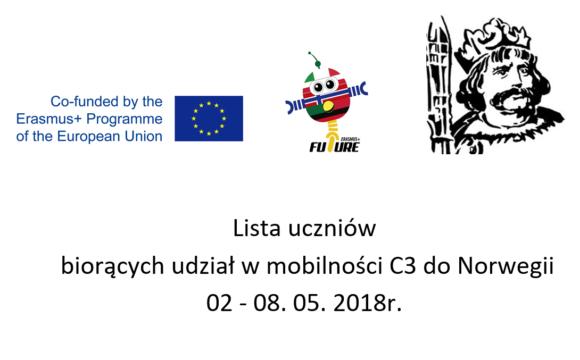 Lista uczniów biorących udział w mobilności C3 do Norwegii 2-8.05.2018r.