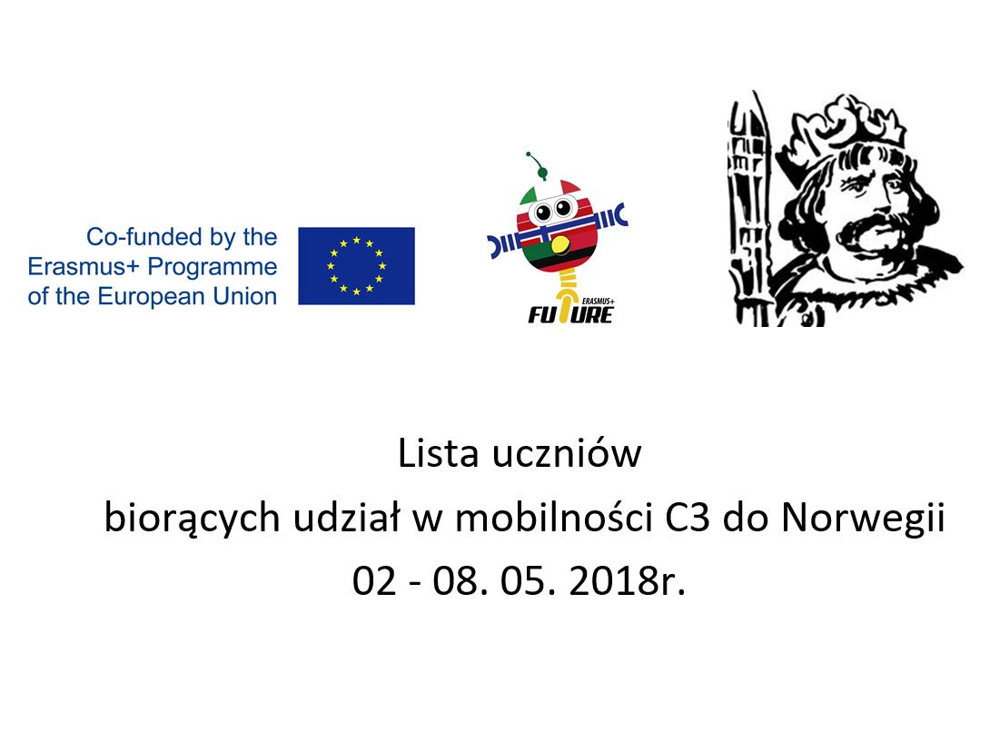 Lista uczniów biorących udział wmobilności C3 doNorwegii 2-8.05.2018r.