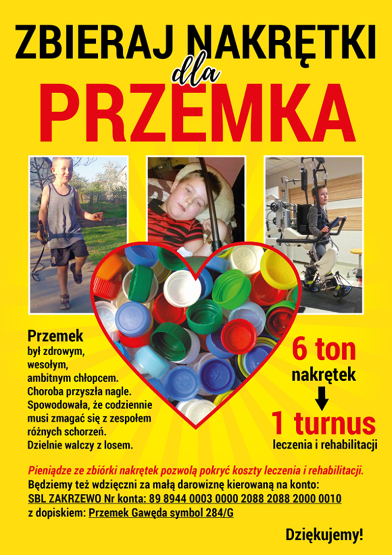 """Zbiórka nakrętek dla Przemka"""