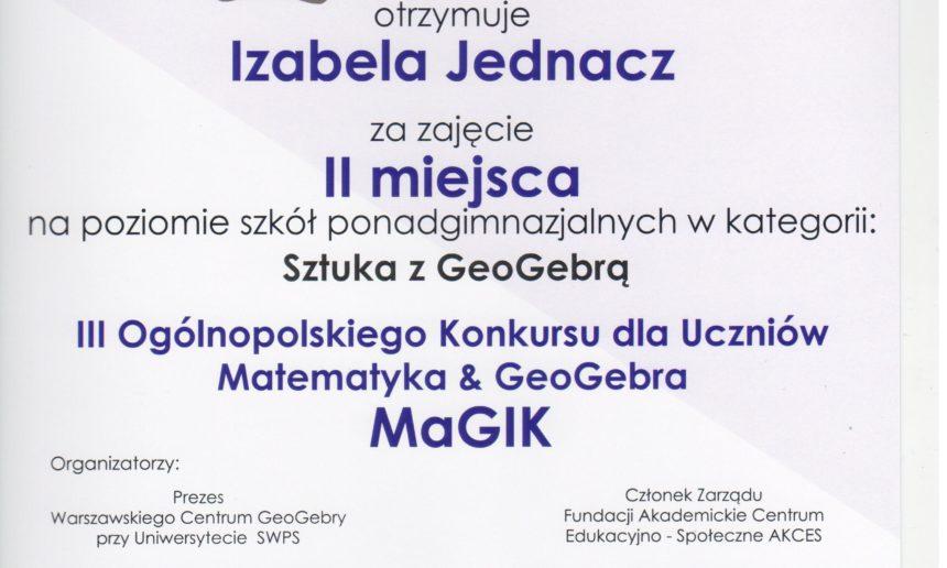 Laureaci III Ogólnopolskiego Konkursu Matematyka & GeoGebra MAGIK