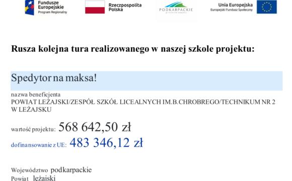 """Rusza kolejna tura realizowanego w naszej szkole projektu """"Spedytor na maksa!"""""""
